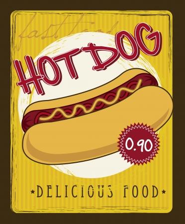 hot dog cartoon over yellow background. vector illustration Vector