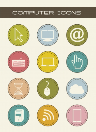 computer icons with vintage style. vector illustration Stock Vector - 16702572