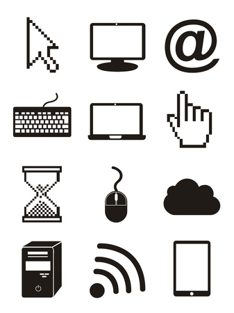 hands on keyboard: computer icons over white background. vector illustration