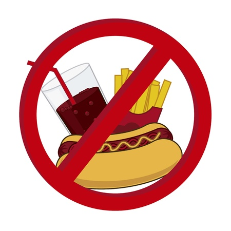 fast food prohibited over white background. vector illustration Vector