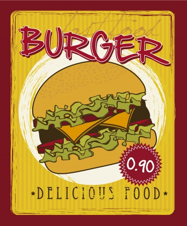 burger announcement over yellow background. vector illustration Vector