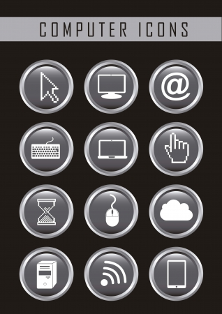 computer icons over black background. vector illustration Stock Vector - 16701927