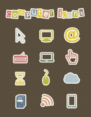 computer icons with vintage style. vector illustration Stock Vector - 16702714