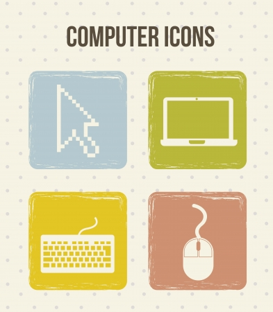 computer icons with vintage style. vector illustration Stock Vector - 16702872