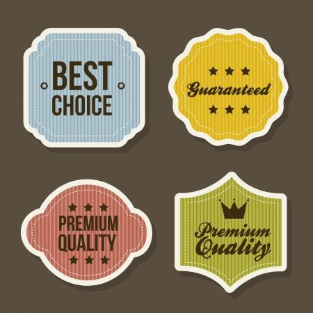 premium member: vintage labels over brown background. vector illustration Illustration