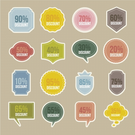 price cut: vintage labels over beige background. vector illustration
