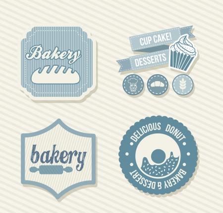 beignet: �tiquettes boulangerie sur fond beige. illustration vectorielle