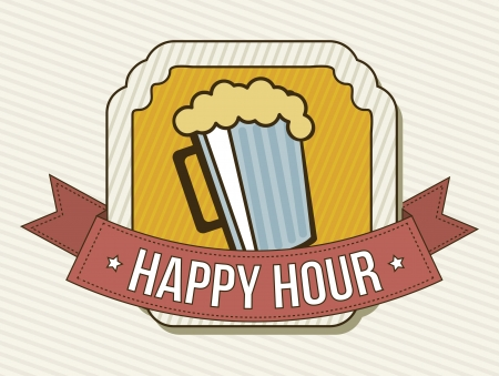 happy hour label over beige background. vector illustration Vector