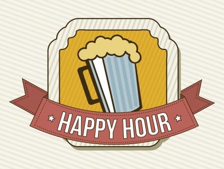 dinner party: happy hour label over beige background. vector illustration Illustration