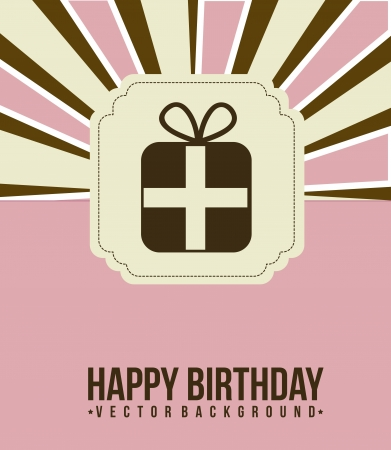 birthday card with gift, pink. vector illustration Stock Vector - 16701875