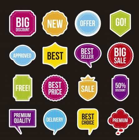 sale labels over black background. vector illustration Stock Vector - 16702704