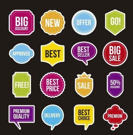 sale labels over black background. vector illustration Stock Vector - 16702704