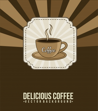 coffee announcement over brown background. vector Vector