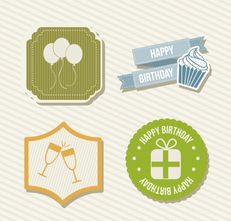 birthday labels over beige background. vector illustration Stock Vector - 16701860