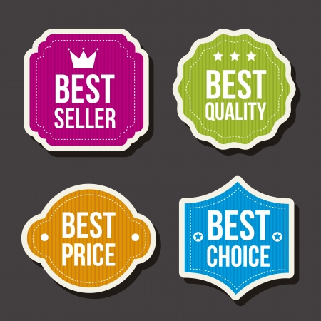 best products: colorful labels over gray background. vector illutration