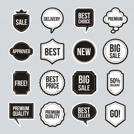 promo: etichette d'epoca su sfondo beige. illustrazione vettoriale