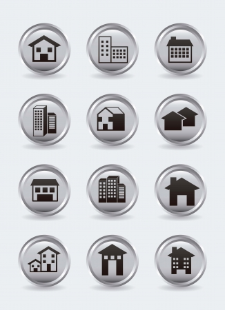 houses buttons over gray background. vector illustration Stock Vector - 16701765