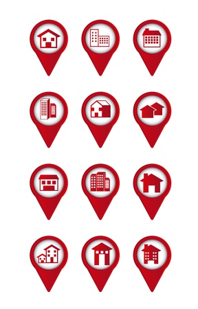 red houses buttons over white background. vector illustration Stock Vector - 16700792