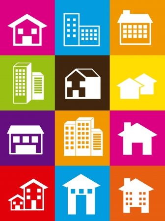 silhouette houses over colorful squares. vector illustration Stock Vector - 16700641