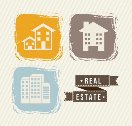 houses icons over beige background, vintage style. vector