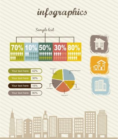 real estate: infographics of houses over beige background. vector illustration