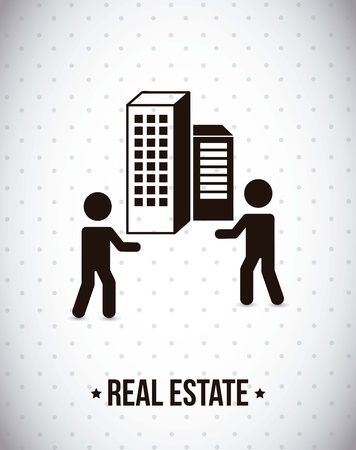 real estate with men over gray background. vector illustration Vector