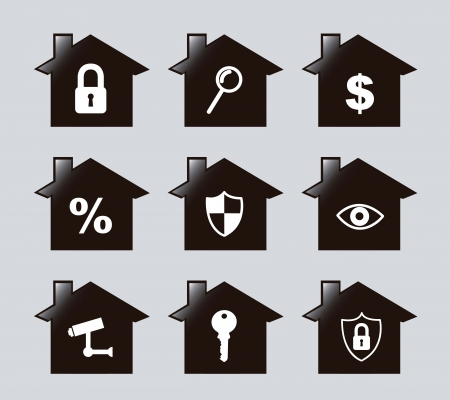 retina scan: silhouette houses over gray background. vector illustration
