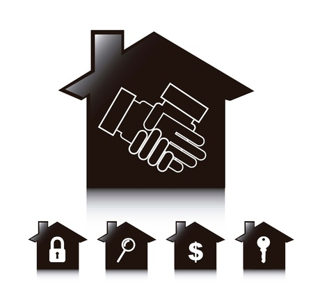 pact: silhouette houses over white background. vector illustration