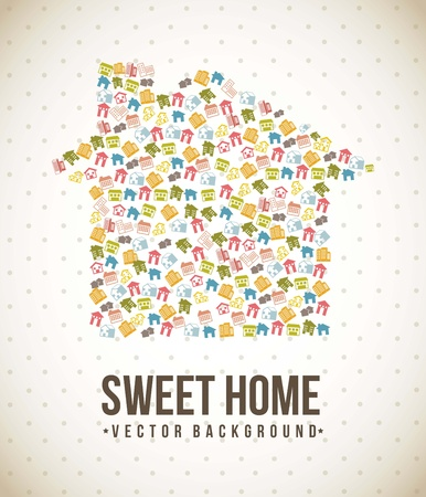 silhouette houses over vintage background. vector illustration Stock Vector - 16702860