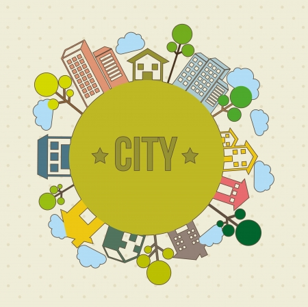 city illustration  over beige background, vintage style. vector Stock Vector - 16702635