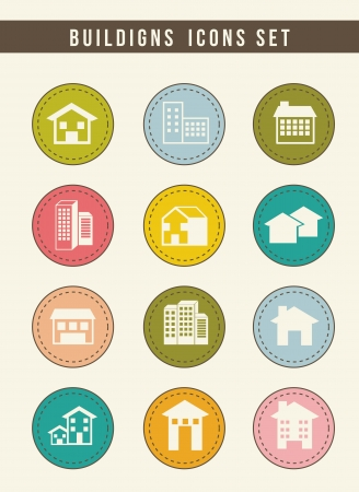 houses buttons over beige background. vector illustration Stock Vector - 16701758