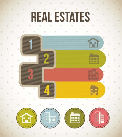 2 3: four numbers templates with houses icons. vector illustration