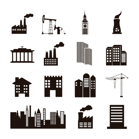industry icon: silhouette houses over white background. vector illustration