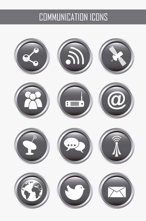 communication icons over gray backgroud. vector illustration Stock Vector - 16701873