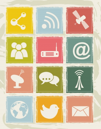 communication icons over grunge backgroud. vector illustration Stock Vector - 16703069
