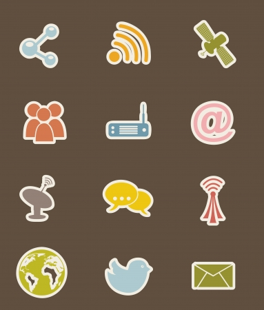 mobile communication: communication icons over brown backgroud. vector illustration