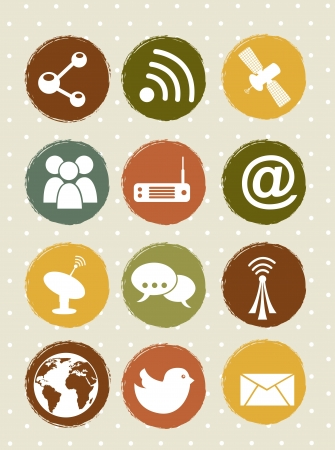 communication icons over beige backgroud. vector illustration Stock Vector - 16702794
