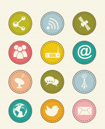 communication icons over beige backgroud. vector illustration Stock Vector - 16701849