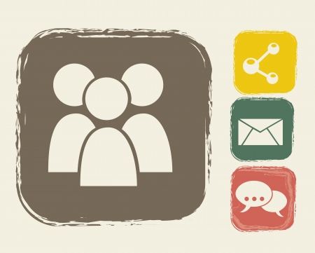 communication icons over beige backgroud. vector illustration Vector