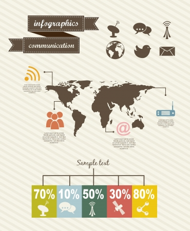 backgroud: infographics of communication  over beige backgroud. vector Illustration