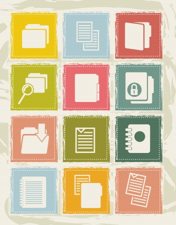 files icons over grunge background. vector illustration Vector