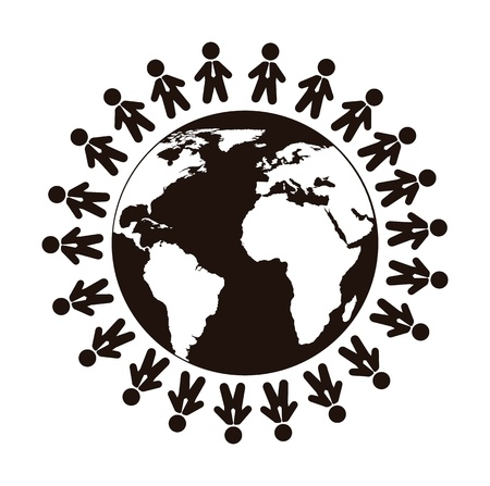 fekete-fehér: ember regisztrál több mint bolygó elszigetelt fölött fehér háttér. vektor