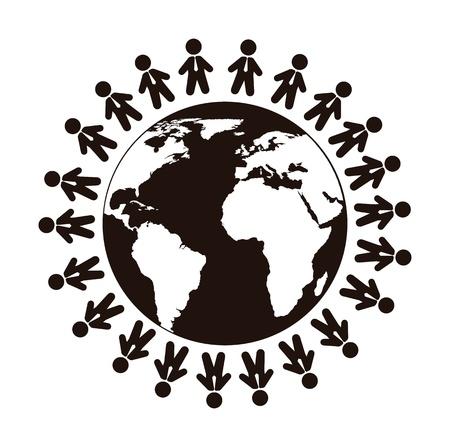 black an white: personas ceder planeta aislado sobre fondo blanco. vector Vectores