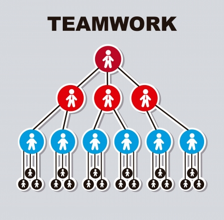 teamwork symbol over gray background. vector illustration Vector