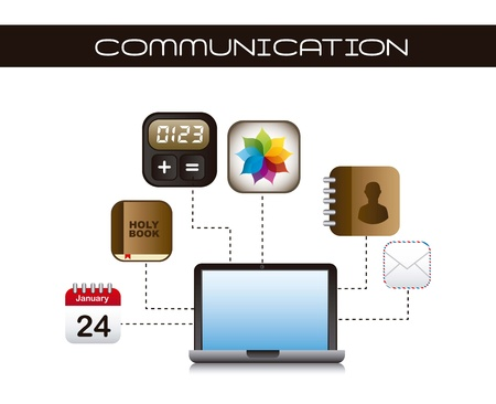 apps icons with laptop over white background. vector Stock Vector - 16702524