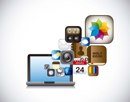 apps icons with laptop over gray background. vector Vector