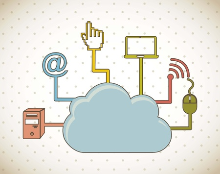 cloud computing over vintage background. vector illustration Stock Vector - 16701940