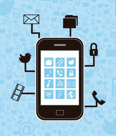 communicatio: smartphone with communicatio icons. vector illustration