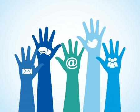democracia: iconos de comunicación sobre las manos. ilustración vectorial