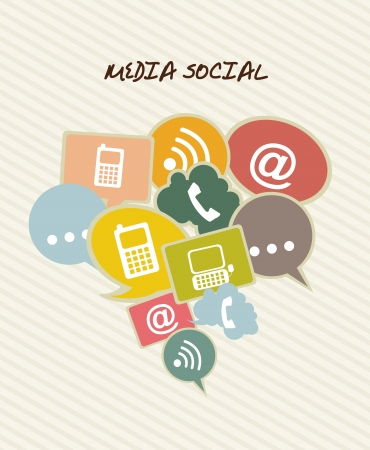 media social with communication icons. vector illustration Stock Vector - 16701830